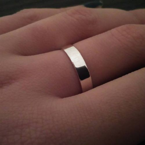 Solid Sterling Silver 925 Flat Shape 5mm Plain Wedding Ring Band